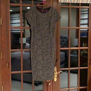 Ann Taylor black and gray floral sheath dress